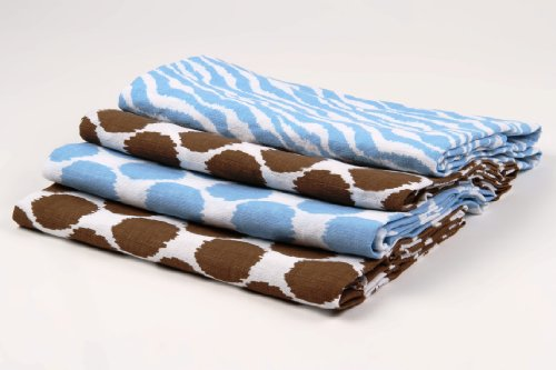 Ikat Blue/Chocolate Swaddling Muslin Blankets set of 4 - 1
