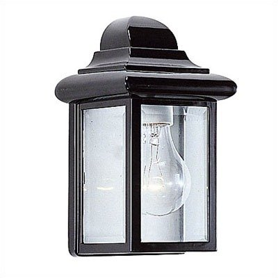 Sea Gull Lighting 8588-12 Single-Light Mullberry Hill Outdoor Wall Lantern with Clear Beveled Glass, Black