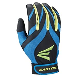 Buy 1 pr Easton Synergy II Adult Small Softball Batting Gloves Blue Green Black by Easton