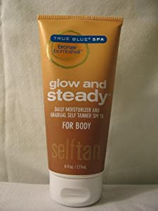 Bath & Body Works True Blue Spa Glow And Steady Daily Moisturizer and Gradual Self Tanner with SPF 15 For Body
