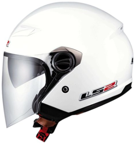 LS2 Helmets OF569 Open Face Motorcycle Helmet (Solid Pearl White, X-Large)