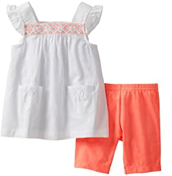 Carter\'s Baby Girls 2-piece Top & Bike Short Set (12 Months, Orange/White)