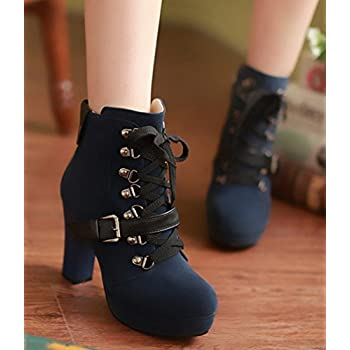 IDIFU Women's Vintage Lace Up Side Zip Up High Heel Chunky Platform Martin Boots