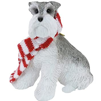 #!Cheap Sandicast Gray Schnauzer with Red and White Scarf Christmas Ornament