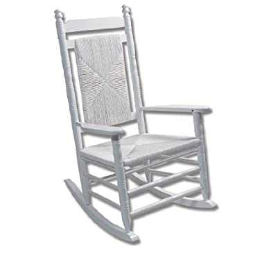 Adult Woven Seat Rocking Chair Pure White Rocking Chairs