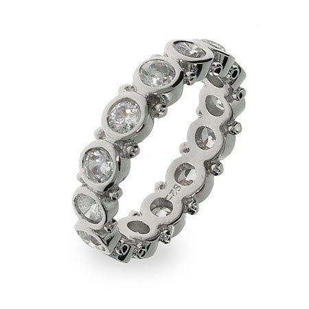 Sterling Silver Bezel Set Eternity Band Size 5 (Sizes 5 6 7 8 9 Available)