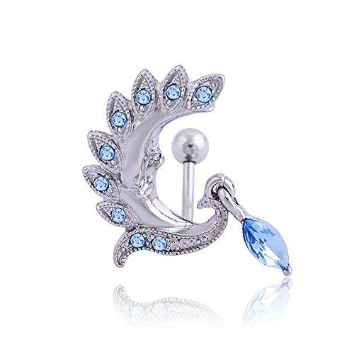 Phoenix-Piercing ombelico con barra per bilanciere-Anello ombelico a forma del corpo, Acciaio inossidabile, colore: blu, cod. Rich-657