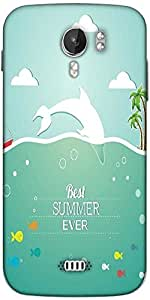 Snoogg summer vector illustration with fishes clouds sun palm trees sea islandsky Designer Protective Back Case Cover For Micromax A116