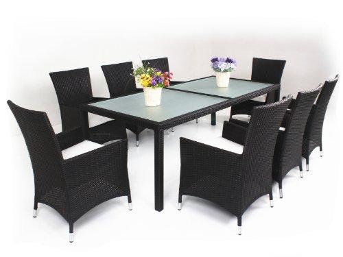 9-Piece Luxury Wicker Patio Indoor Outdoor Dinner Table Furniture set image