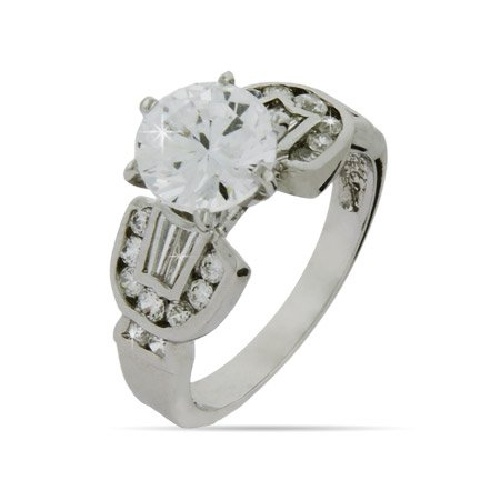 Round Cut CZ Engagement Ring - Clearance Final Sale Size 8 (Sizes 8 9 Available)