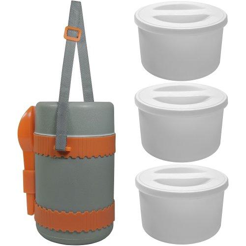 Promobo -Set Boite Panier Repas Alimentaire Isotherme Pause Déjeuner 1,25L Orange