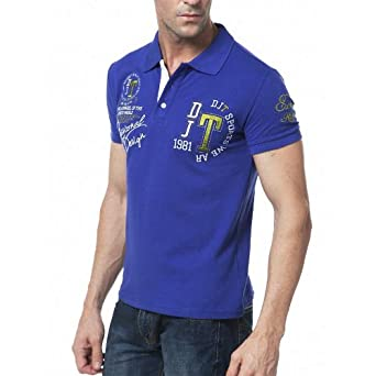 DJT Polo Col Chemise Manches Courtes Homme Bleu Taille M