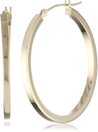 Duragold 14k Yellow Gold Square Hoop Earrings, (1.2