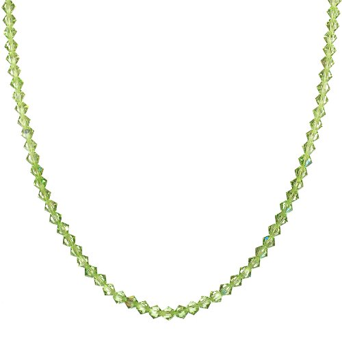 Sterling Silver Swarovski Elements Peridot Colored 4mm Bead Necklace, 18