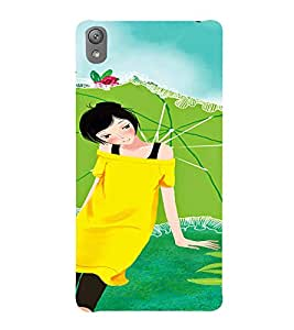 Printvisa Yellow Dressed Girl With An Umbrella Back Case Cover for Sony Xperia E5
