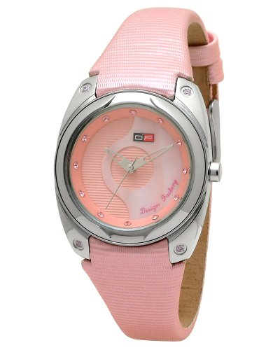DFactory Women's DFI014ZPP White Label Pink and Mother of Pearl Dial PU and Leather Strap Watch