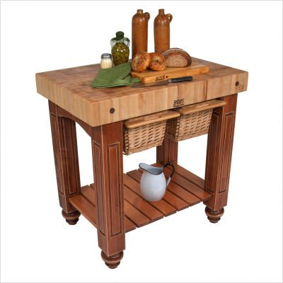 American Heritage Gathering Block Butcher Block Table in Maple with Walnut Base Size: 25