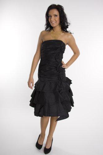 Modell 2048 Abendkleid knielang, schulterfrei, schwarz ...