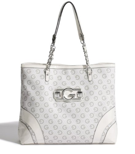 G by GUESS Felice Logo Tote, WHITE