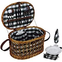 Woven Willow Picnic Basket Oval Shaped Fully Lined Service for 4
