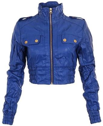 KRISP® Womens Faux Leather PU Cropped Jacket Coat Spring Summer Colour Bicker Size Small Medium Large 8907 (Medium, Blue)