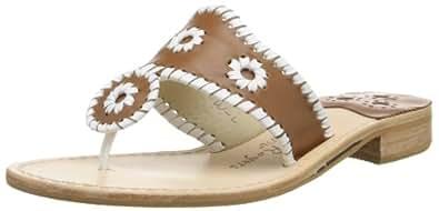 Jack Rogers Women's Palm Beach Dress Sandal,Cognac/White,5 M US