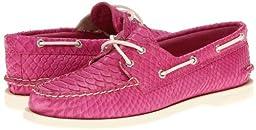 Sperry Women\'s A/O 2 Eye Boat Shoe, Pink Python Print-8 M (B)