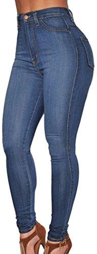 PEGGYNCO Womens Blue Medium Wash Denim High-Waist Skinny Jeans Size XL