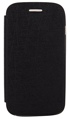 iCandy Soft TPU Non Slip Back Shell PU Leather Hybrid Flip Cover for Micromax Canvas 2 A110 - BLACK  available at amazon for Rs.135