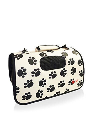 Pet Life Airline Approved Folding Zippered Cage Pet Carrier Paw Print