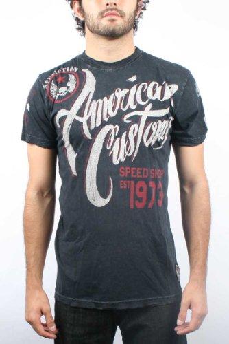 Affliction - Mens Speed Shop T-Shirt in Black, Size: Large, Color: Black