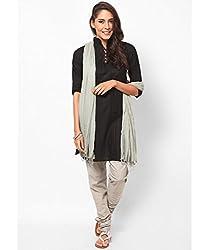 MemSahiba Women Plain Cotton Chudidaar Dupatta Combo (MS-1376_Grey)