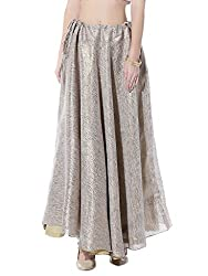 NIKA Georgette Brocade Solid Long Skirt
