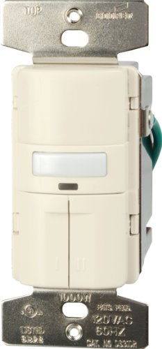 Cooper Wiring Devices Vs310R-C2-K Motion-Activated Vacancy Sensor Dual Wall Switch, White And Light Almond