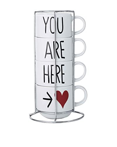 Prima Designs 5-Piece Gilded Hearts You Are Here Mugs Set
