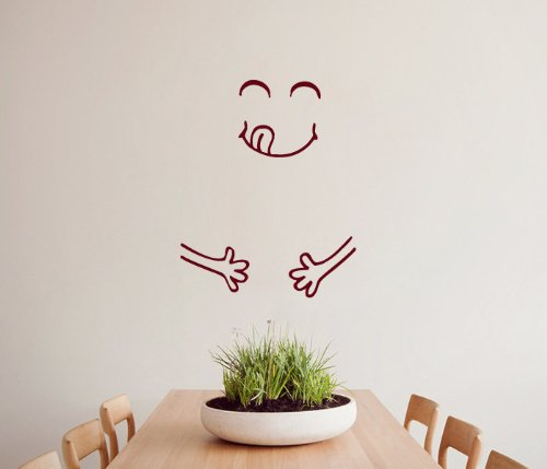 Housewares Wall Vinyl Decal Full Glad Figure Smile Kitchen Cafe Fridge Interior Home Art Decor Kids Nursery Removable Stylish Sticker Mural Unique Design For Any Room front-1004376