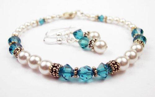 Blue Zircon Bracelets and Earring SETS: Swarovski Crystal Beaded Pearl Bracelets in Sterling Silver