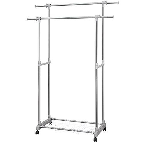 Awardwiki double bar heavy duty collapsible rack for Clothes rail on wheels ikea