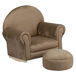Flash Furniture Kids Brown Microfiber Rocker Chair and Footrest