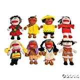 DELUXE MULTI-CULTURAL AROUND THE WORLD HAND PUPPETS ~ SET OF 8 ~