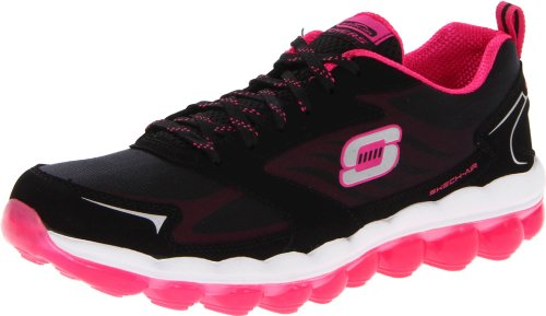Skechers Women's Sport Skech Air Fashion Sneaker,Black/Hot Pink,5.5 M US