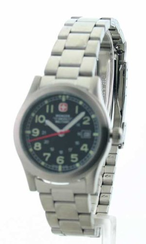 Swiss Watches:Wenger Swiss Military Women's 72986 Field Black Dial Steel Bracelet Military Watch Images
