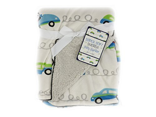 "Soft Sherpa Baby Blanket 30x40 ""Panda Car"" Reversible - 1"
