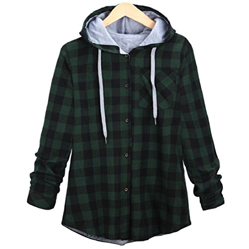 Fheaven Women Leisure Autumn and Winter New Long Hooded Plaid Cardigan Jacket (L, Green)