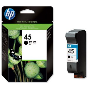 Hewlett Packard [HP] No. 45 Inkjet Cartridge Page Life 930pp 42ml Black Ref 51645AE-ABB
