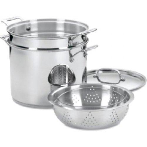 Conair Chefs Classic Stainless 4 Pc Pasta/Steamer Set 3 Gal Stockpot, Pasta Insert, Steamer Basket - Stainless Steel / 77-412 / front-625101