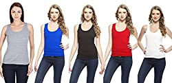Friskers Women's Tank Top (Pack Of 5) (FY-SPG-01_02_03_04_05_Black_X-Large)