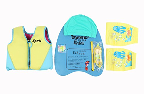 Child life Genwiss giallo-Giacca-gilet da corsa di barca per kayak & 1-7 Swimboard anni e occhialini da nuoto e nuota naso e galleggiante da piscina e braccioli