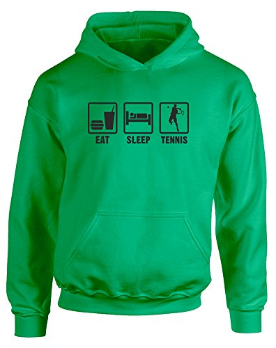 Eat Sleep Tennis, Kids Printed Hoodie - Kelly Green/Black 9-11 Years back-754453