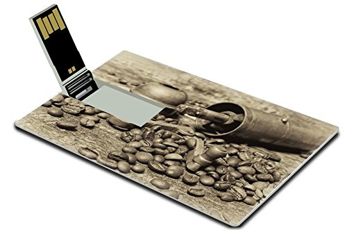 MSD 32GB USB Flash Drive 2.0 Memory Stick Credit Card Size Coffee beans with coffee grinder on wooden table Vintage style IMAGE 22924572 (Usb Coffee Grinder compare prices)